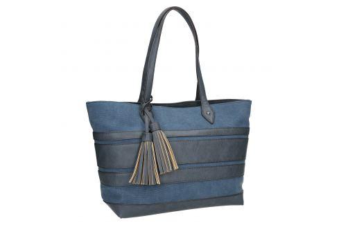 Modrá dámska kabelka so strapcami
