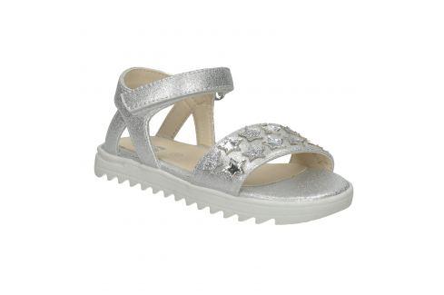 Strieborné dievčenské sandále s hviezdičkami