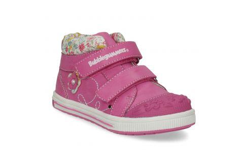 Ružová členková obuv na suchý zips
