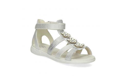 Strieborné dievčenské sandále s kvetmi