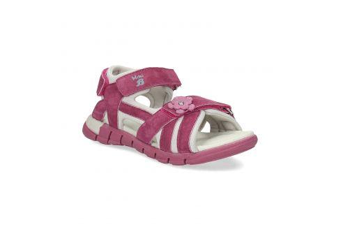 Ružové dievčenské sandále s kytičkou