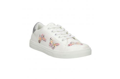 Biele dievčenské tenisky s motýlikmi