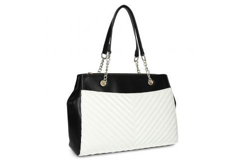 Čierno-biela kabelka s prešívaním