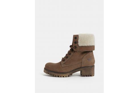 Hnedé dámske kožené členkové zimné topánky na podpätku Weinbrenner ... 9caed228f34