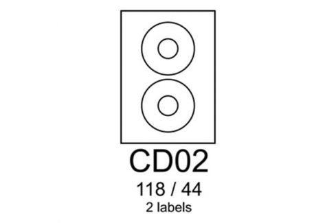 Etikety RAYFILM CD02 118/44 oranžové flourescentné laser R0133CD02A R0133.CD02A